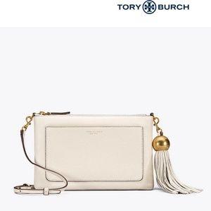 Tory Burch leather tassel cross-body - NEW ivory